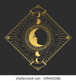 Vector illustration in magic vintage style. Golden ornate frame with Moon on black background
