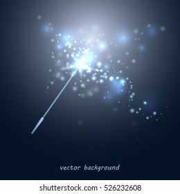 Vector illustration of a magic wand. Blue wand with a star