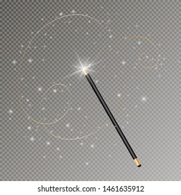 Vector illustration of magic wand. Isolated on transparent background. Vector Illustration eps 10.