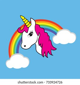 vector illustration of a magical unicorn head with rainbow horn isolated on white background. magic cartoon animal. rainbow with white clouds in the blue sky.