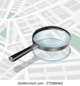 Vector illustration. Magnifying glass on a city map. Design for mobile apps, banner. Isometric. 3D