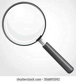 Vector illustration of magnifying glass over white