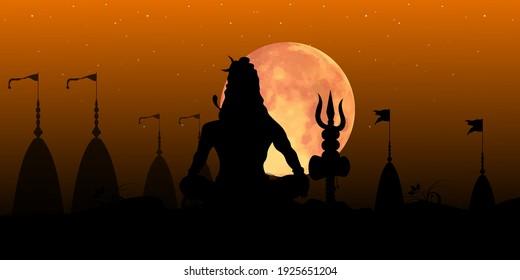 Vector illustration of Maha Shivratri. Grunge texture Mahadev silhouette. Greeting card for Hindu festival Mahashivratri.