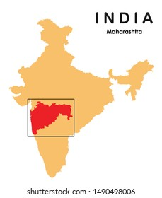 vector illustration of Maharashtra in India map