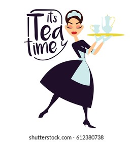 Vector illustration. Maid in a classic uniform with tea. Happy house service. Cartoon style