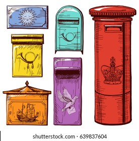 Vector illustration of mail boxes set decorated with crown, postal horn, sun, ship and postal dove. Vintage engraving style.