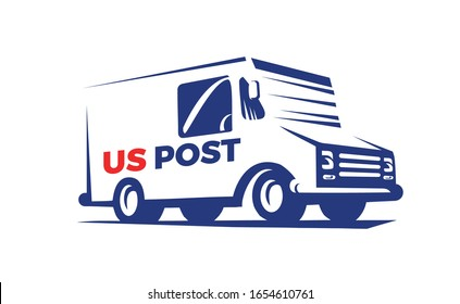 Vector Illustration of the Mail Delivery Truck. Template design