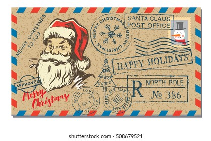 Vector illustration of mail letter with rubber stamp