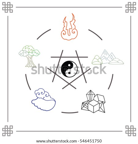 vector illustration main natural elements fire stock vector (royalty Creation Diagrams Numbers vector illustration of main natural elements fire water metal wood soil creation cycle in flat line
