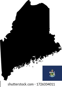 vector illustration of Maine map with flag