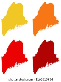 vector illustration of Maine maps