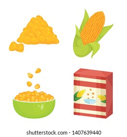 Vector illustration of maize and food icon. Set of maize and crop stock symbol for web.