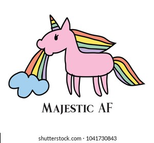 Vector illustration of majestic unicorn puking rainbow. Majestic and very rare unicorn.