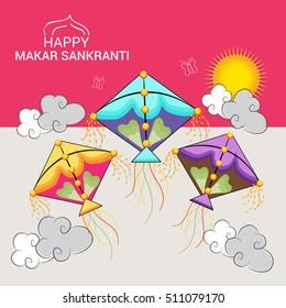 Vector illustration of Makar Sankranti Banner with Colorful Kite.