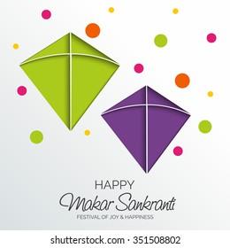 Vector illustration Makar Sankranti harvest festival celebration in India with colorful kites flying in the sky.