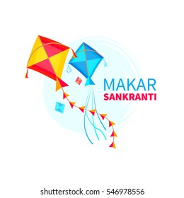 Vector illustration of Makar Sankranti wallpaper with colorful kite. Isolated on white background. Concept design for greeting cards, banners, advertisements, promotions. EPS 10