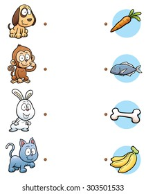 Vector Illustration of  make the right choice and connect the dots animal with their food