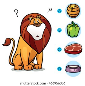 Vector Illustration of make the right choice connect animal with their food - Lion