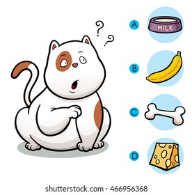 Vector Illustration of make the right choice connect animal with their food - Cat