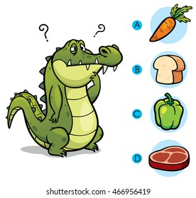 Vector Illustration of make the right choice connect animal with their food - Crocodile