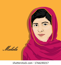 Vector illustration of Malala Yousafzai, Malala Yousafzai also known as a Pakistani activist for women's education and the youngest Nobel Prize