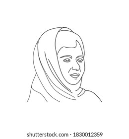 Vector illustration of Malala Yousafzai. Pakistani activist for women's education and youngest, Nobel Prize