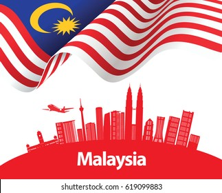 Vector illustration of Malaysia flag and city of Kuala Lumpur