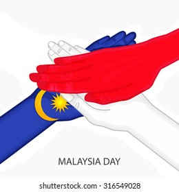 Vector illustration of Malaysia flag with group of hands for Malaysia Day.