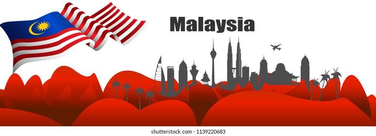 Vector Illustration Malaysia flag and Kuala Lumpur city.