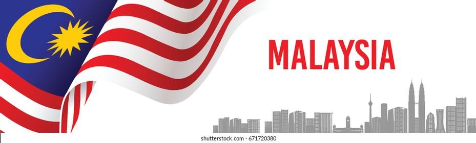 Vector illustration of Malaysia flag and Kuala Lumpur City