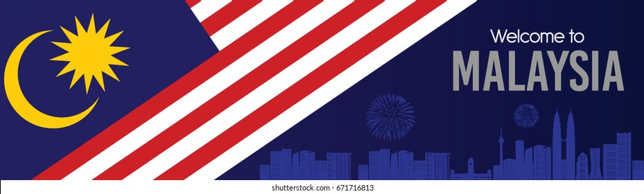 Vector illustration of Malaysia flag and text Welcome to Malaysia