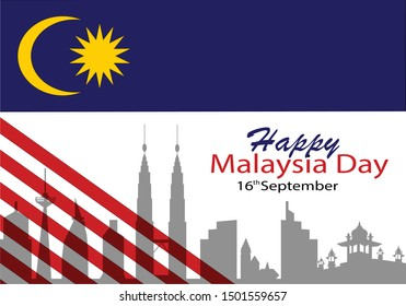 Vector illustration of Malaysia flag white background with words HAPPY MALAYSIA DAY 16 SEPTEMBER