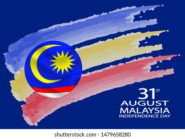 Vector illustration of Malaysia flag with words 31 AUGUST MALAYSIA INDEPENDENCE DAY.