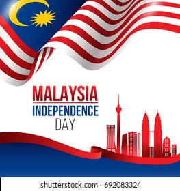 Vector Illustration of Malaysia INDEPENDENCE DAY and Malaysia flag