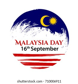 Vector illustration for Malaysia National Day, Malaysia flag in trendy grunge style. 16 September, 31 August design template for poster, banner, flayer, greeting,invitation card. Independence day card