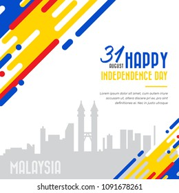 Vector illustration for Malaysia National Day,31 August design template for poster, banner, flayer, greeting,invitation card with silhouette cityscape in background
