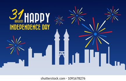 Vector illustration for Malaysia National Day,31 August design template for poster, banner, flayer, greeting,invitation card.Independence day card.