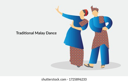 Vector illustration of a Malaysian couple performing a traditional Malay dance moves.