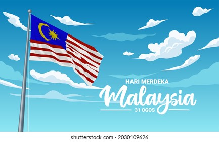 Vector illustration, Malaysian flag fluttering against a blue sky background, with the text
