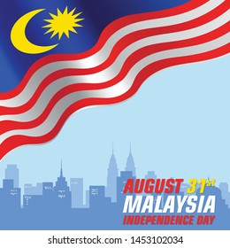 Vector Illustration of Malaysia's Independence day concept. Malaysian Flag with text MALAYSIA INDEPENDENCE DAY