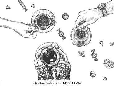 Vector illustration of male and female hands with hot drinks. Green tea with mint and lemon, black espresso coffee with cookies and cocoa with marshmallow. Vintage hand drawn style