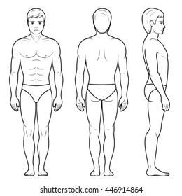 Vector illustration of male figure - front, back and side view in outline