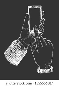 Vector illustration of male hands with smartphone. Scrolling and making online order or purchase goods. Human finger pointing on blank screen. Vintage hand drawn style. White drawing on black