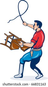 vector illustration of a male lion tamer with whip and holding a chair isolated on white