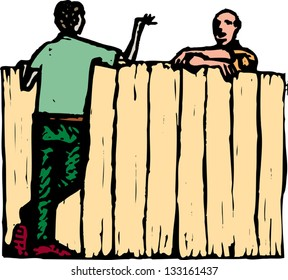 Vector illustration of male neighbors talking over fence