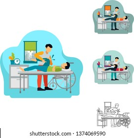 Vector Illustration of male Orthopaedic doctor or physiotherapy doing therapy medical treatment on a man patient with knee joint problem. It'll be suitable for banner header homepage apps infographics