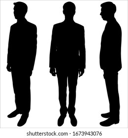 Vector illustration of a male silhouette in a suit. Businessman is standing. Black shadow silhouette of a man isolated on a white background. Manikin. Three different poses. Side view and full face.