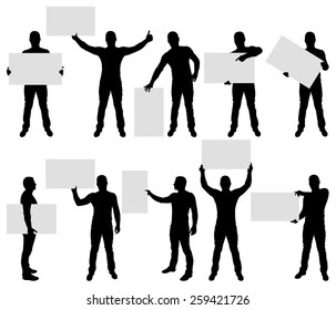 Vector illustration of male silhouettes holding blank sign.