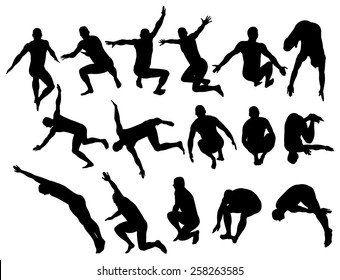 Vector illustration of male silhouettes jumping.
