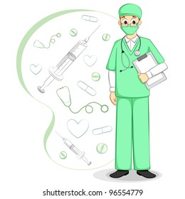 vector illustration of male surgeon on medical background